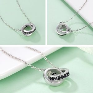 Jewelry - New - Alyssa 925 SS Double Circle Pendant Necklace